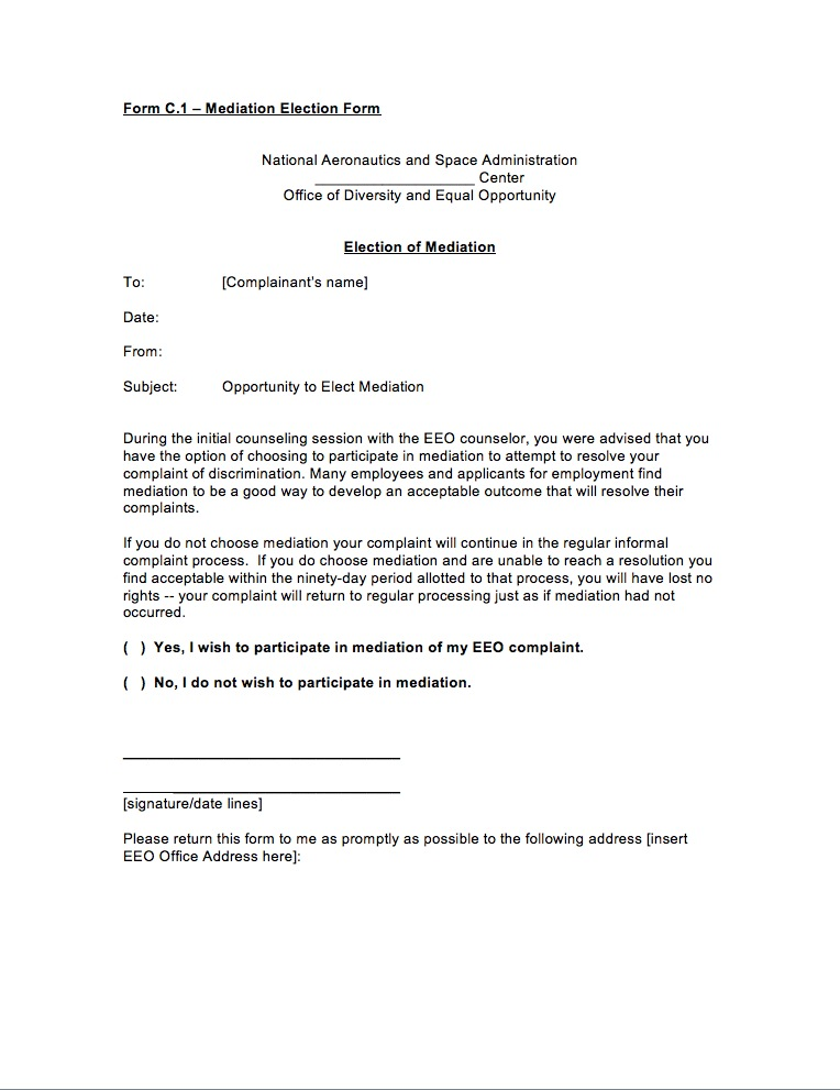 Mediation Election Form