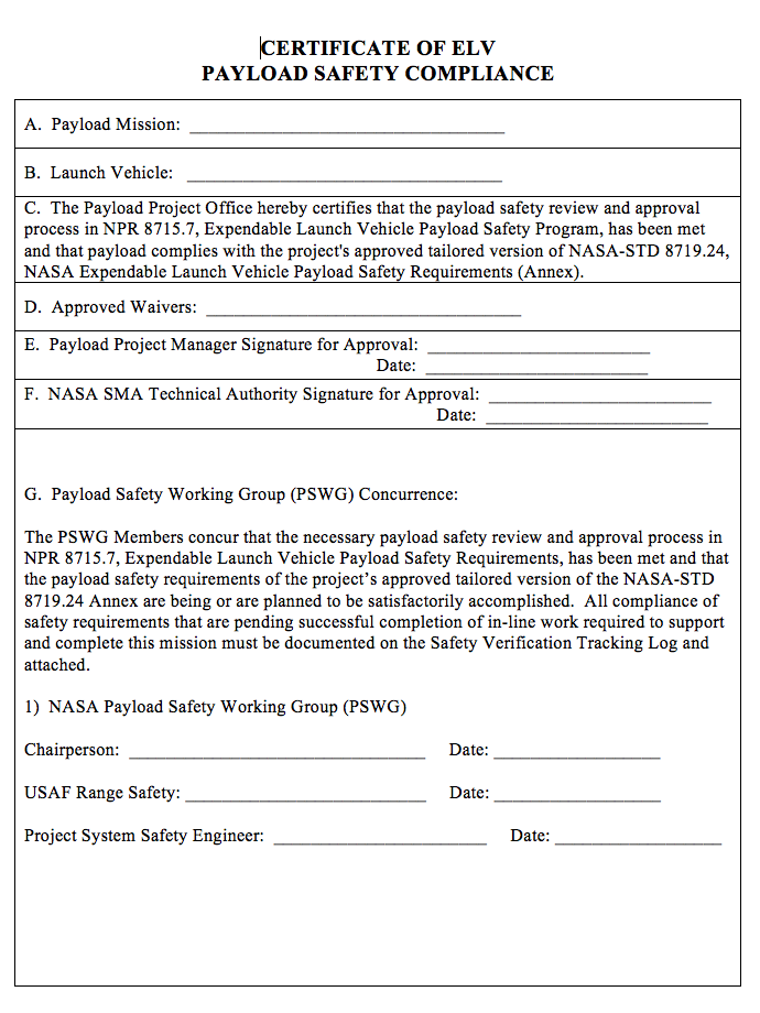 Npr 87157a appendixd appendix d sample certificate of elv payload safety compliance instructions for completion of yadclub Gallery