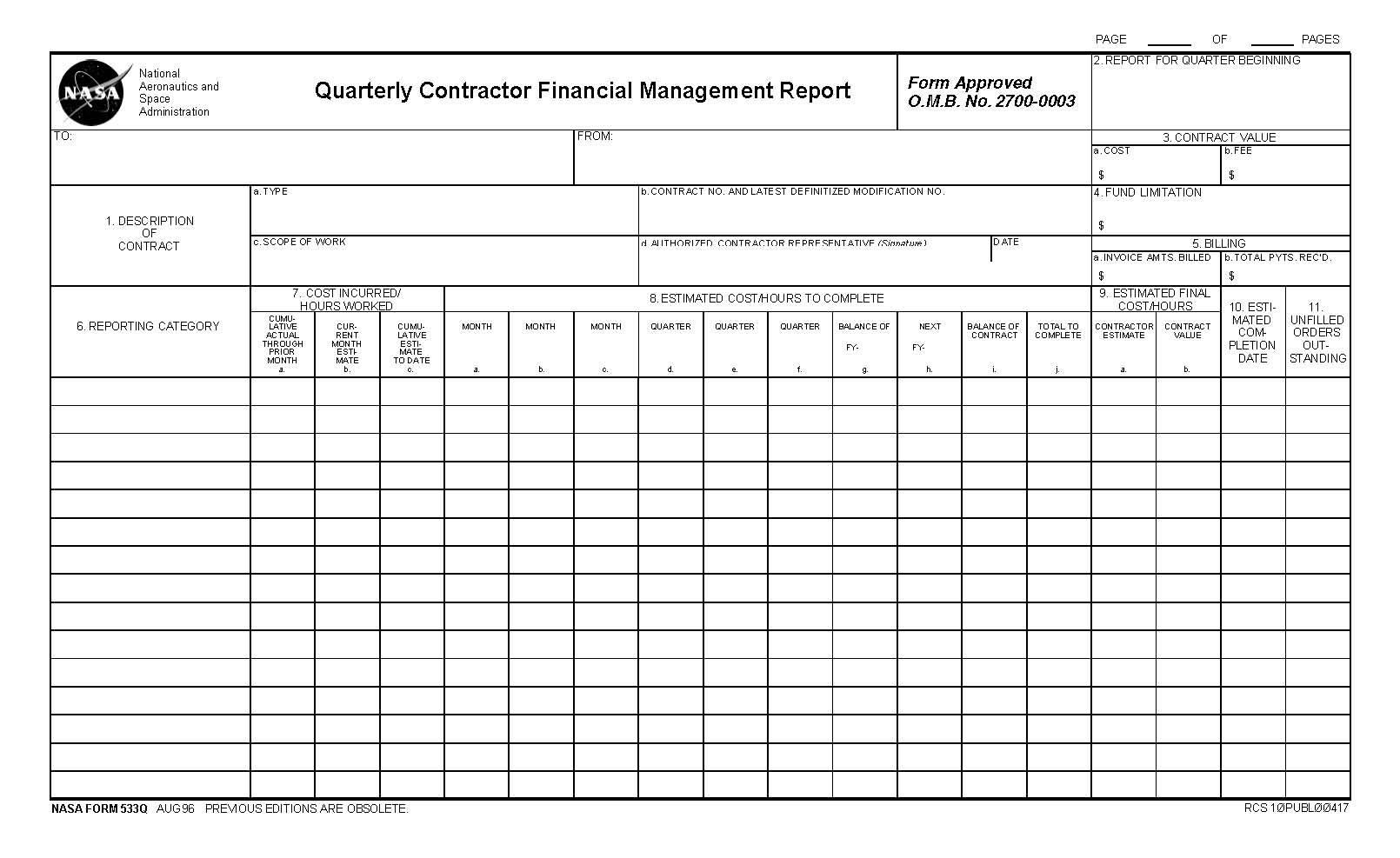 npr d nasa contractor financial management reporting nasa form 533q